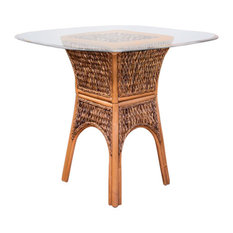 """Panama 42"""" Square Round Tempered Bevel Edge Glass Counter Table, Antique Honey"""