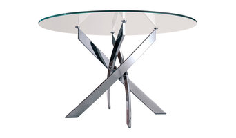 Barone Chrome Table With Transparent Glass Top