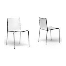Modern 2 Dining Chair Molded Plastic White 195