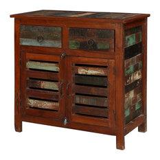 Addyston Rustic Reclaimed Wood Shutter Door 2 Drawer Buffet Cabinet