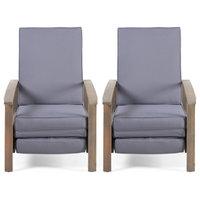Olga Outdoor Acacia Wood Recliner With Cushion, Set of 2, Sandblast Gray/Dark Gr