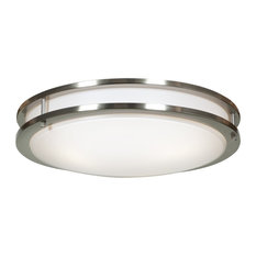 """Solero Dimmable LED Flush Mount, Brushed Steel With Acrylic Lens, 18"""""""
