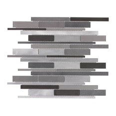MTO0141 Modern Linear Gray Glossy Glass Metal Mosaic Tile