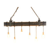 Stunning 6 Light Fixture With Aged Beam And Iron Brackets