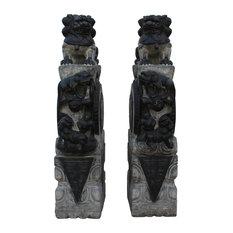Chinese Pair Gray Black Stone Fengshui Foo Dogs Lions Door Block Statue Hcs4733