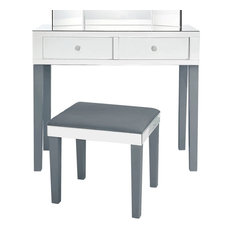 Venecia Mirrored 2-Drawer Vanity Table with Stool Set, Grey