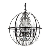 Luna 5-Light Crystal Beaded Orb Chandelier, Black