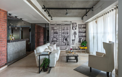 Before & After Houzz: Concrete & Glass Create a Warm Ahmedabad Home