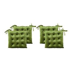 Hallie Tufted Velvet Dining Chair Cushions, Set of 4, Sage