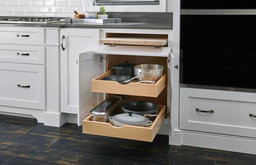Medallion Cabinets | Pull-Out Chopping Block and Two Roll-Out Trays
