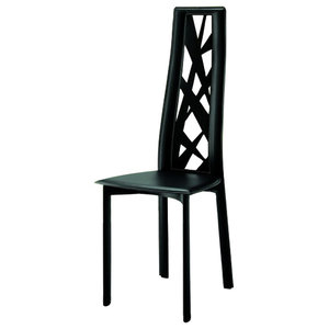 Cathy Black Leather Chairs, Set of 2