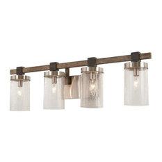 Bridlewood 4 Light Bathroom Vanity Light in Stone Grey With Brushed Nickel