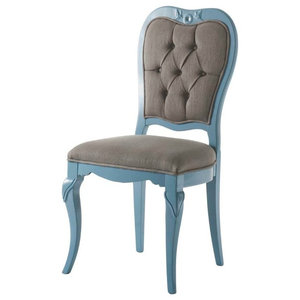 AIX Buttoned Light Blue Dining Chair, Carved Birds, Without Armrests