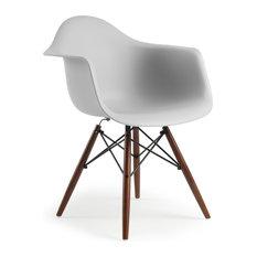 Poly and Bark Vortex Arm Chair Walnut Leg in Harbor Grey
