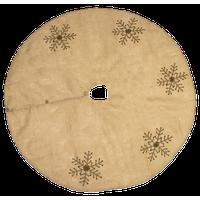 Jeweled Snowflake Burlap Design Holiday Decor Natural Chirstmas Tree Skirt