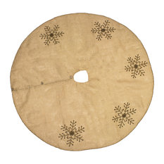 Fennco Styles - Jeweled Snowflake Burlap Design Holiday Decor Natural Chirstmas Tree Skirt - Christmas Tree Skirts
