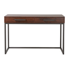 Homestar Horatio Computer Desk With 2 Drawers, Walnut