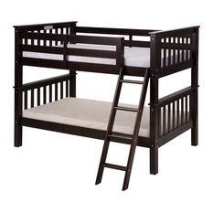 Santa Fe Mission Low Bunk Bed Twin Over Twin, Angle Ladder, Cappuccino