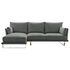 Eleanor Chaise Sofa, Stone, 3-Seater, Left Hand Facing