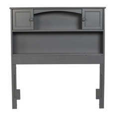 Bowery Hill Solid Wood Bookcase Twin Headboard In Gray