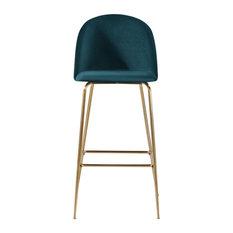 Millennial Brass Velvet Upholstered Dining Bar Stool, Teal, 65 Cm