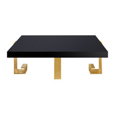 Safavieh - Safavieh Roya Black Lacquer Coffee Table, Black, Gold Leaf - Coffee  Tables