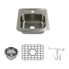 """Transolid - Transolid Select Stainless Steel Single Bowl Kitchen Sink Kit 15""""x15""""x6"""" - Kitchen Sinks"""
