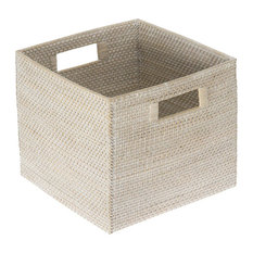 Laguna Square Rattan Storage Basket, White Wash