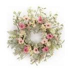 Poppy/Hydrangea Wreath, Pink/Cream/Green