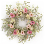 Melrose International - Poppy/Hydrangea Wreath, Pink/Cream/Green - Poppy/Hydrangea wreath in shades of pink. A variety of greenery makes up the background for the beautiful florals.