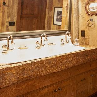 Home design - large rustic home design idea in Boston
