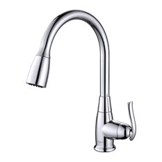 Great Kraus USA, Inc.   Single Lever Pull Out Kitchen Faucet, Chrome