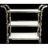 Bar Cart Wakefield Elegant Antique Brass Metal 3-Shelf Curved Handles