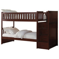 Axis Bunk Bed With Reversible Step Storage, Dark Cherry