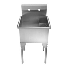 """Whitehaus WHLS2020-NP 20"""" Brushed Stainless Steel Freestanding Utility Sink"""