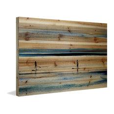 """Surfboard Paddling"" Print on Natural Pine Wood, 36""x24"""