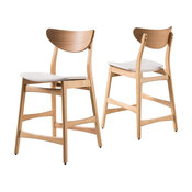 GDF Studio Molle Mid-Century Design Counter Stools, Beige/Oak, Set of 2