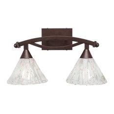 "Bow 2 Light Bath Bar In Bronze, 7"" Italian Ice Glass"