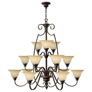 Cello Antique Bronze Chandelier, 15 Lights