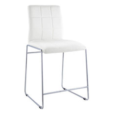 Acme Gordie Set of 2 Counter Height Chair, White and Chrome