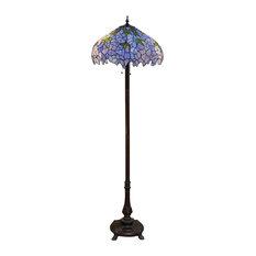 """Warehouse of Tiffany Indigo 2 Light Tiffany Style 19"""" Floor Lamp"""
