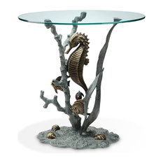 SPI   Bronze Finish Seahorse Glass Top End Table   Side Tables And End  Tables