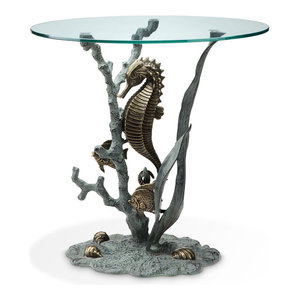 Bronze Finish Seahorse Glass Top End Table