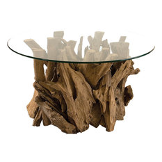 Uttermost   Driftwood Glass Top Cocktail Table, Natural   Coffee Tables