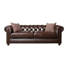 Abbyson Living - Carmela Leather Sofa, Brown - Sofas