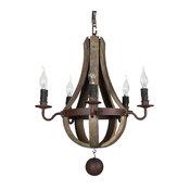 5-light vintage rustic wine barrel farmerhouse reclamed wood chandelier pendant