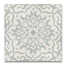 """MoroccanMosaicTile House - 8""""x8"""" Atlas Handmade Cement Tile, Green and White, Set of 12 - Wall and Floor Tile"""