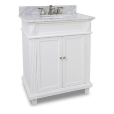 "Douglas Elements 29"" Vanity, Painted White, White Marble"