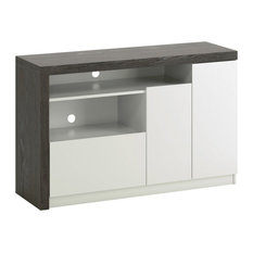 Sauder Hudson Court 50-inch Engineered Wood TV Stand In Charcoal Ash With Pearl Oak
