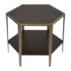 Geometric Wood Veneer Hexagon Accent Table Bunching Coffee Champagne Bronze by Uttermost